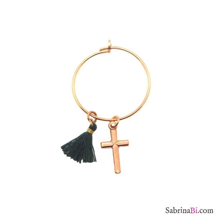 Mono-orecchino a cerchio 2cm argento 925 oro rosa Croce + nappina
