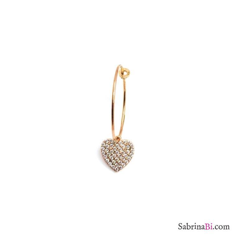 Mono-orecchino a cerchio 2cm argento 925 oro rosa Cuore grande Zirconi
