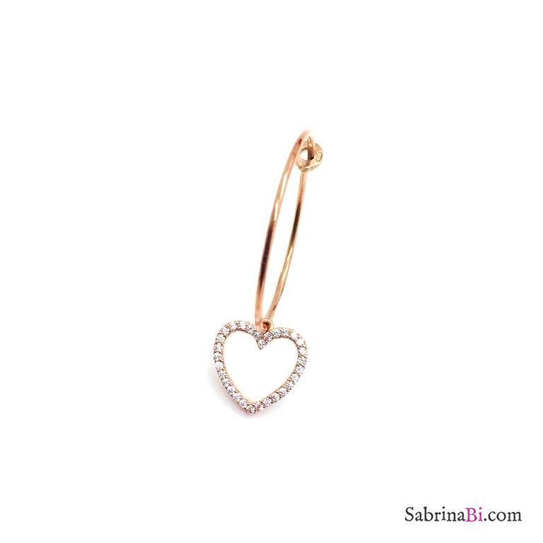 Mono-orecchino a cerchio 2cm argento 925 oro rosa Cuore vuoto grande Zirconi
