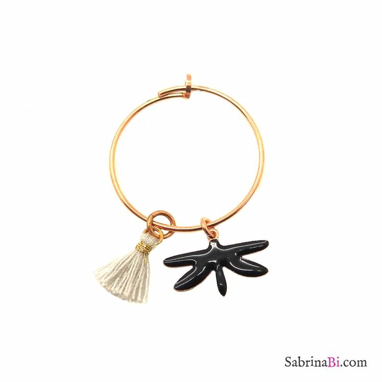 Mono-orecchino a cerchio 2cm argento 925 oro rosa Libellula nera + nappina