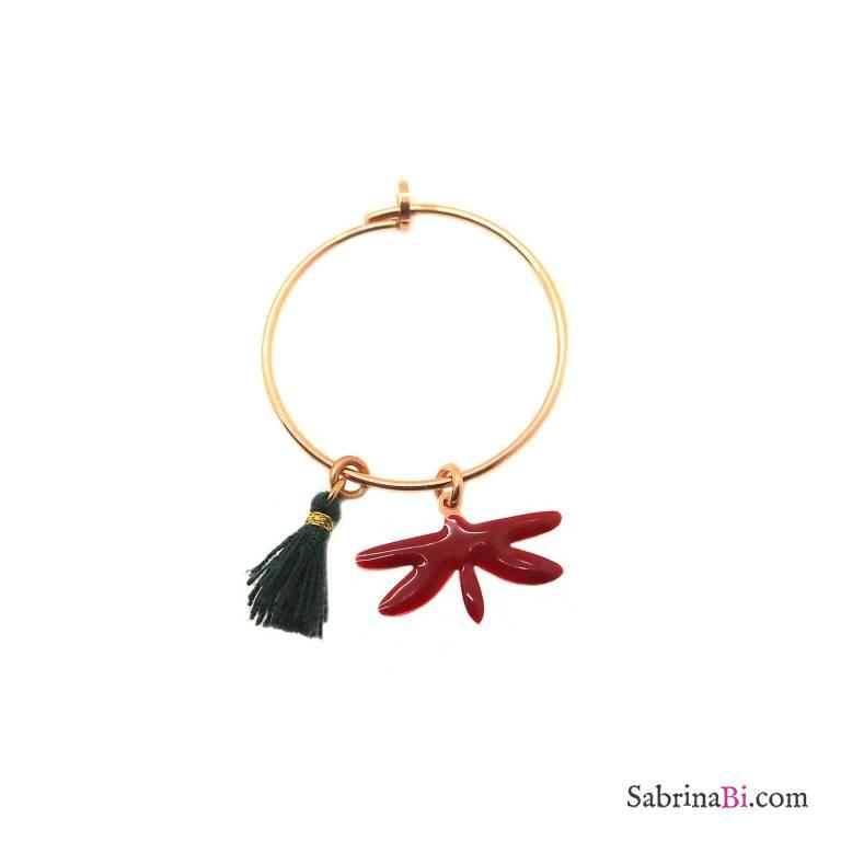 Mono-orecchino a cerchio 2cm argento 925 oro rosa Libellula rosso scuro + nappina