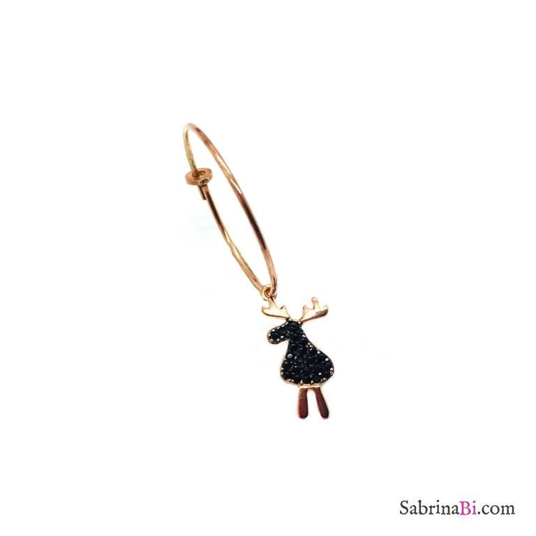 Mono-orecchino a cerchio 2cm argento 925 oro rosa Renna