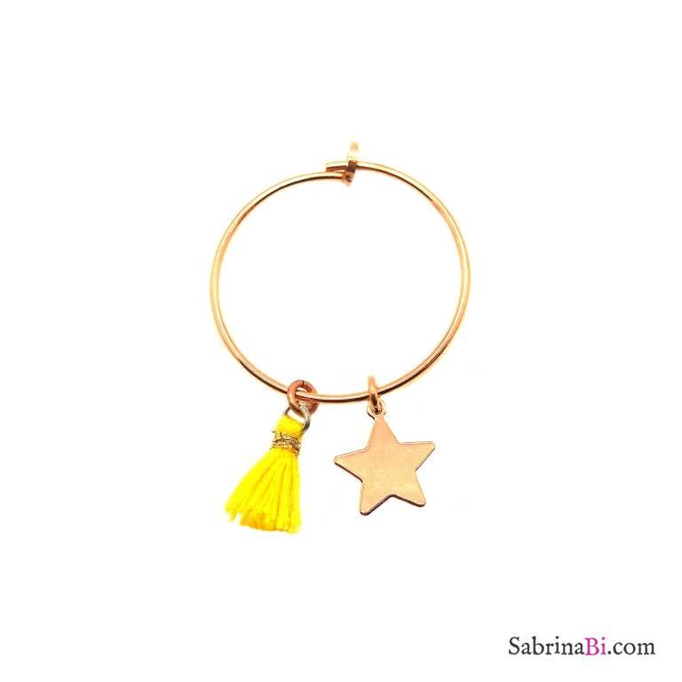 Mono-orecchino a cerchio 2cm argento 925 oro rosa Stella + nappina