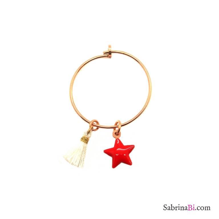 Mono-orecchino a cerchio 2cm argento 925 oro rosa Stella rossa + nappina