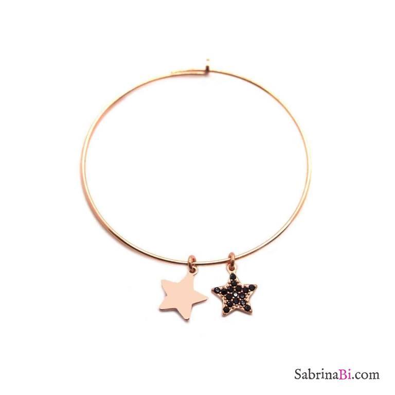 Mono-orecchino a cerchio grande argento 925 oro rosa Due stelle
