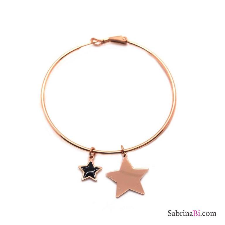 Mono-orecchino a cerchio maxi argento 925 oro rosa Stella piccola e grande