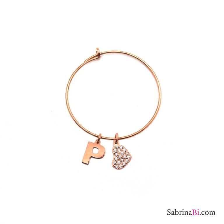 Mono-orecchino a cerchio medio argento 925 oro rosa Lettera iniziale e cuore Zirconi