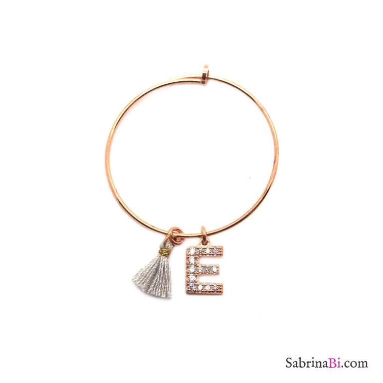 Mono-orecchino a cerchio medio argento 925 oro rosa Lettera iniziale Zirconi e nappina