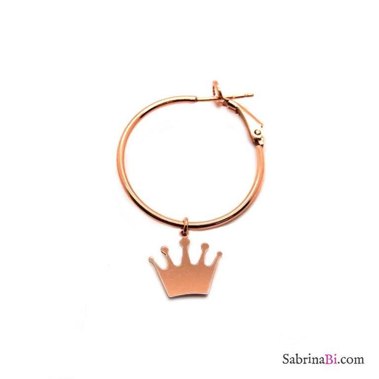 Mono-orecchino a cerchio midi argento 925 oro rosa Corona
