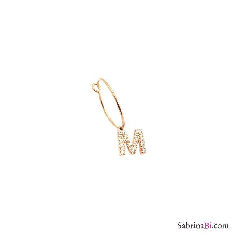 Mono-orecchino cerchio 1,5cm argento 925 oro rosa Lettera iniziale nome Zirconi grande