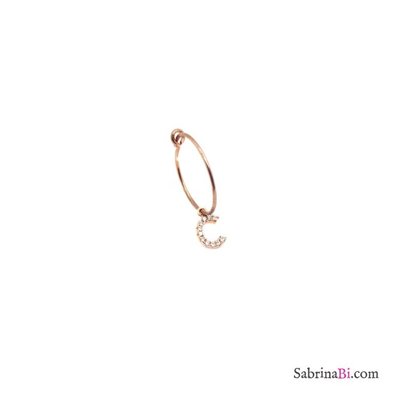 Mono-orecchino cerchio 1,5cm argento 925 oro rosa Lettera iniziale nome Zirconi piccola