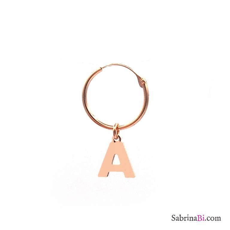 Mono-orecchino cerchio 1cm argento 925 oro rosa Lettera iniziale nome