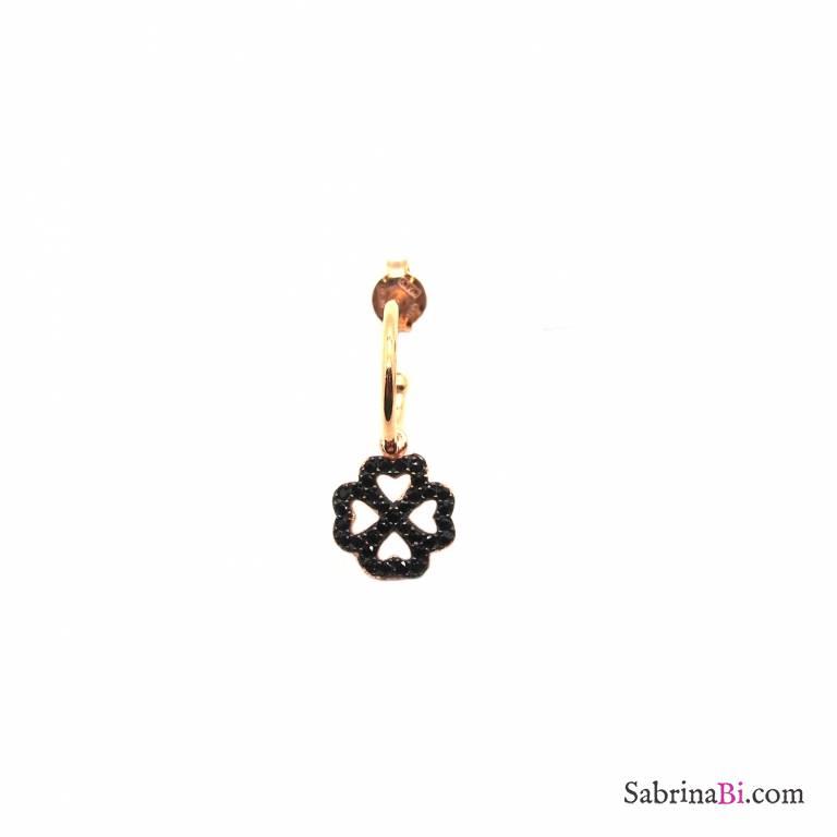 Mono orecchino cerchio 1cm argento 925 oro rosa Quadrifoglio Zirconi neri
