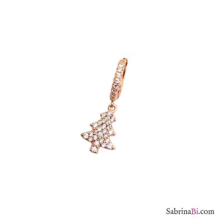 Mono orecchino cerchio 1cm zirconato argento 925 oro rosa albero di Natale Zirconi