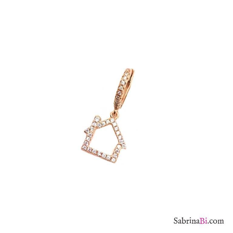 Mono orecchino cerchio 1cm zirconato argento 925 oro rosa casetta Zirconi