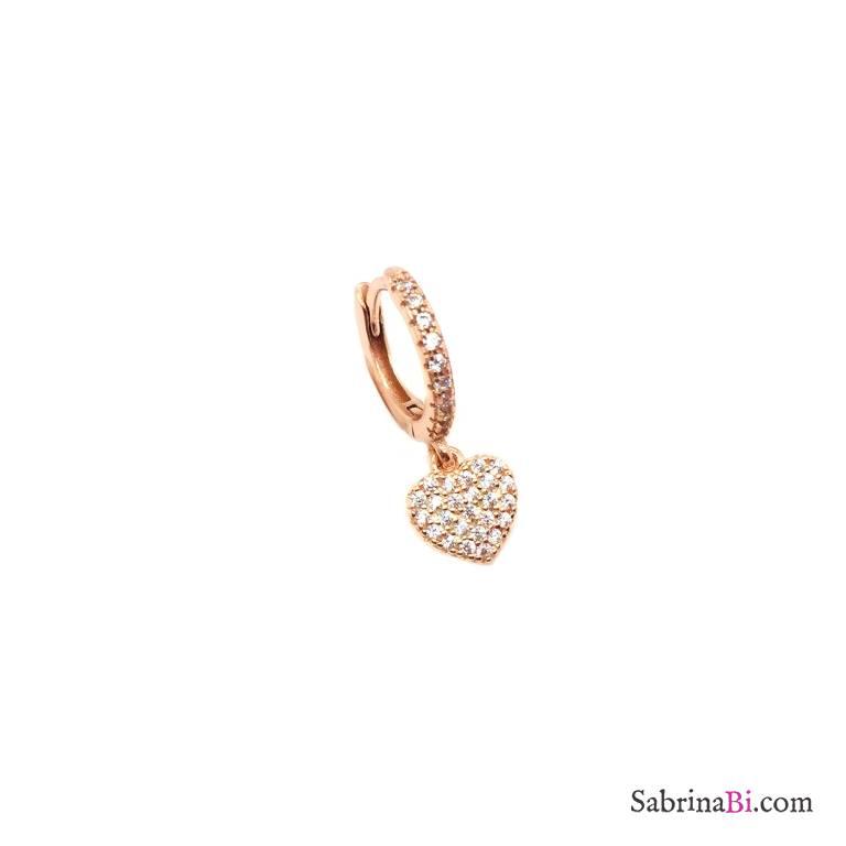 Mono orecchino cerchio 1cm zirconato argento 925 oro rosa cuore Zirconi
