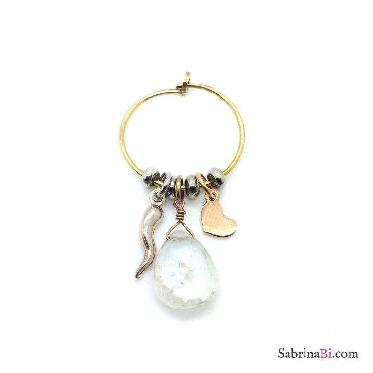 Mono orecchino cerchio argento 925 oro giallo Cristallo di rocca