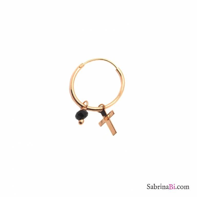 Mono orecchino cerchio argento 925 oro rosa Croce e Zircone nero