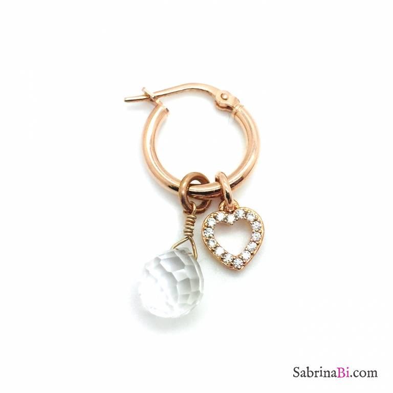 Mono orecchino cerchio argento 925 oro rosa Quarzo Ialino