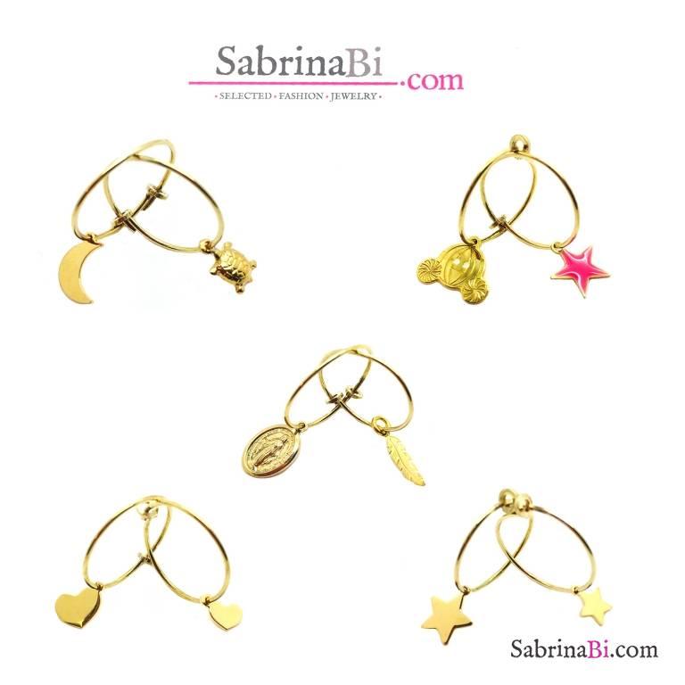 Mono orecchino cerchio filo 1,5 cm. argento 925 oro giallo + charm a scelta