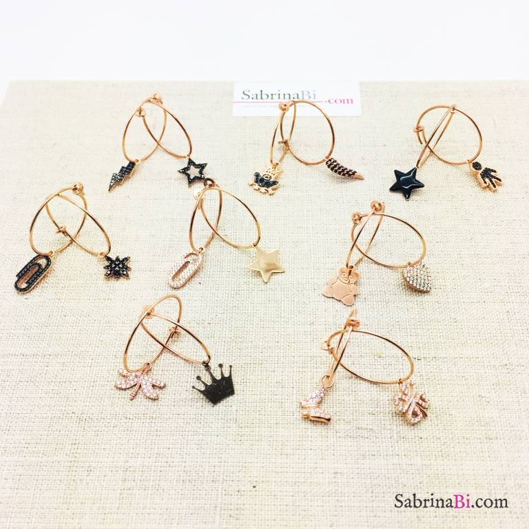 Mono orecchino cerchio filo 2 argento 925 oro rosa Come-vuoi-tu