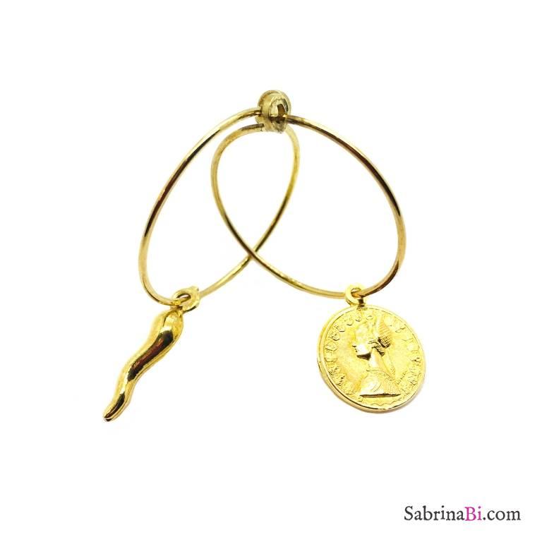Mono orecchino cerchio filo argento 925 oro giallo 2cm + charm a scelta