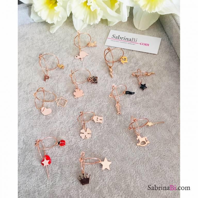 Mono orecchino cerchio filo sottile argento 925 oro rosa + charm oro rosa a scelta