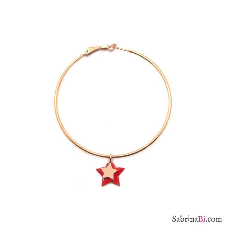 Mono-orecchino cerchio maxi argento 925 oro rosa doppia stella