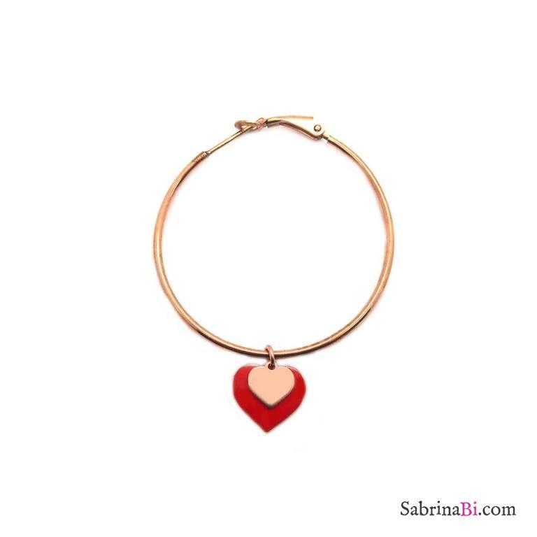 Mono-orecchino cerchio medio argento 925 oro rosa doppio cuore