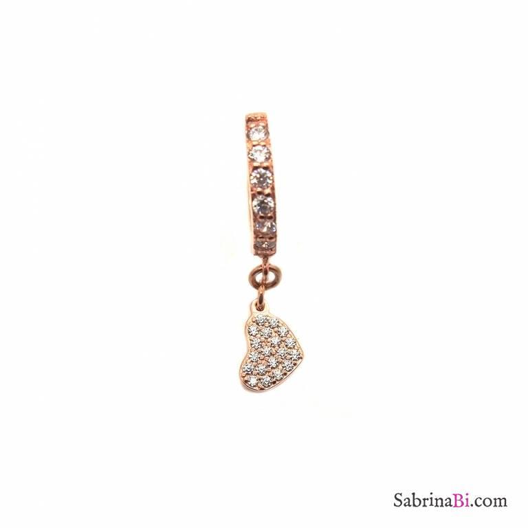 Mono-orecchino cerchio zirconato argento 925 oro rosa Cuore Zirconi