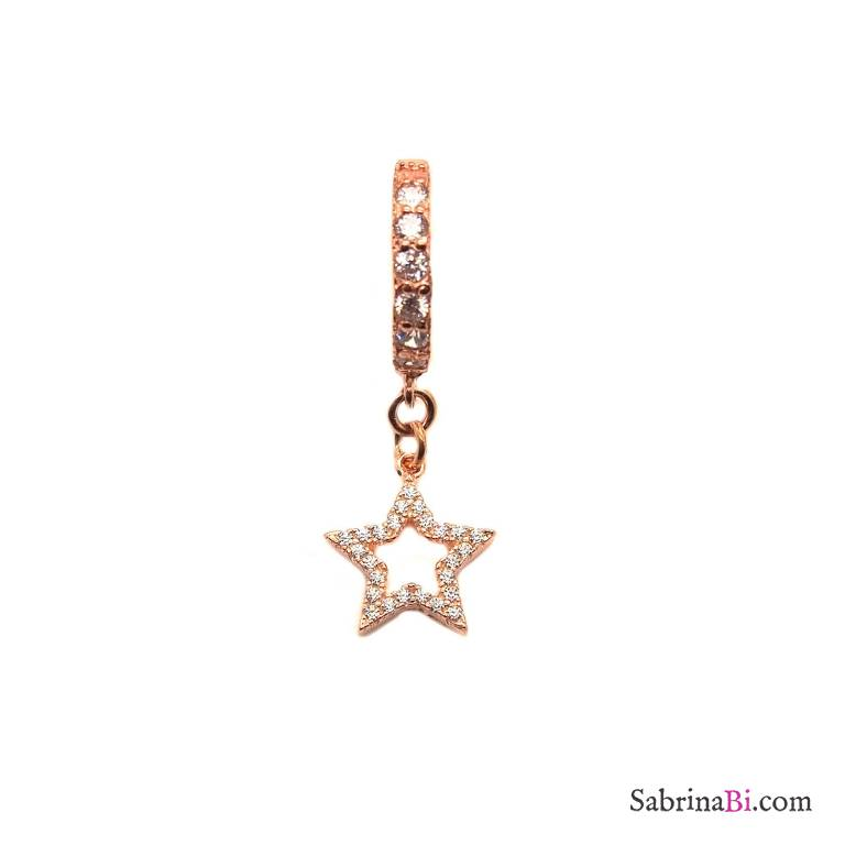 Mono-orecchino cerchio zirconato argento 925 oro rosa Stella vuota Zirconi
