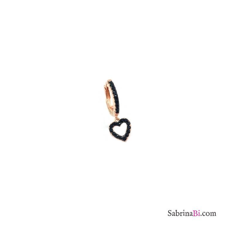 Black Zirconia rose gold sterling silver mono hoop black Zirconia heart