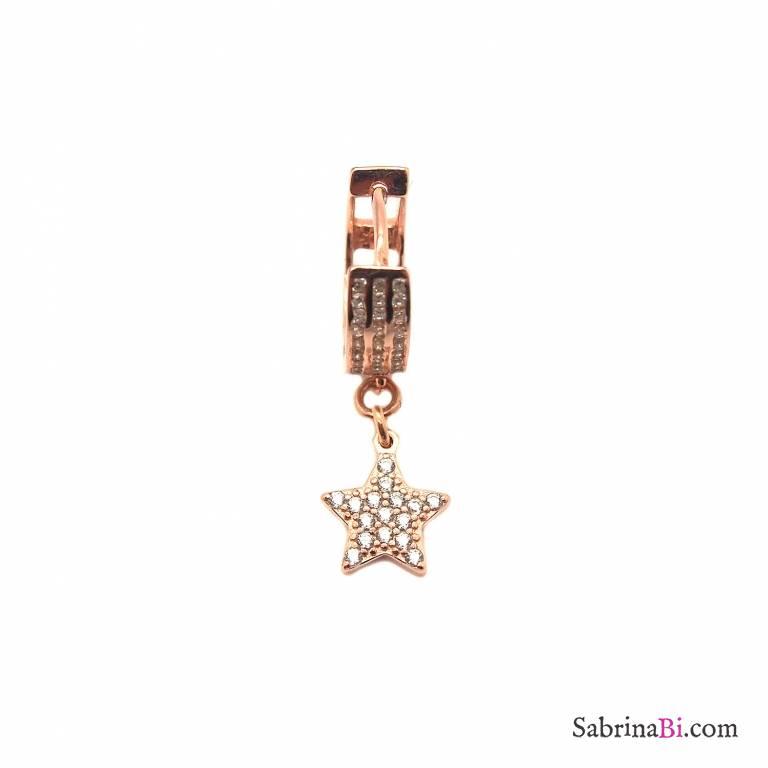 Mono-orecchino cerchio Zirconi argento 925 oro rosa Stella Zirconi