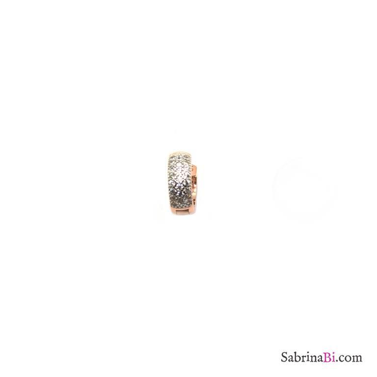 Mono orecchino mini cerchio argento 925 oro rosa Zirconi