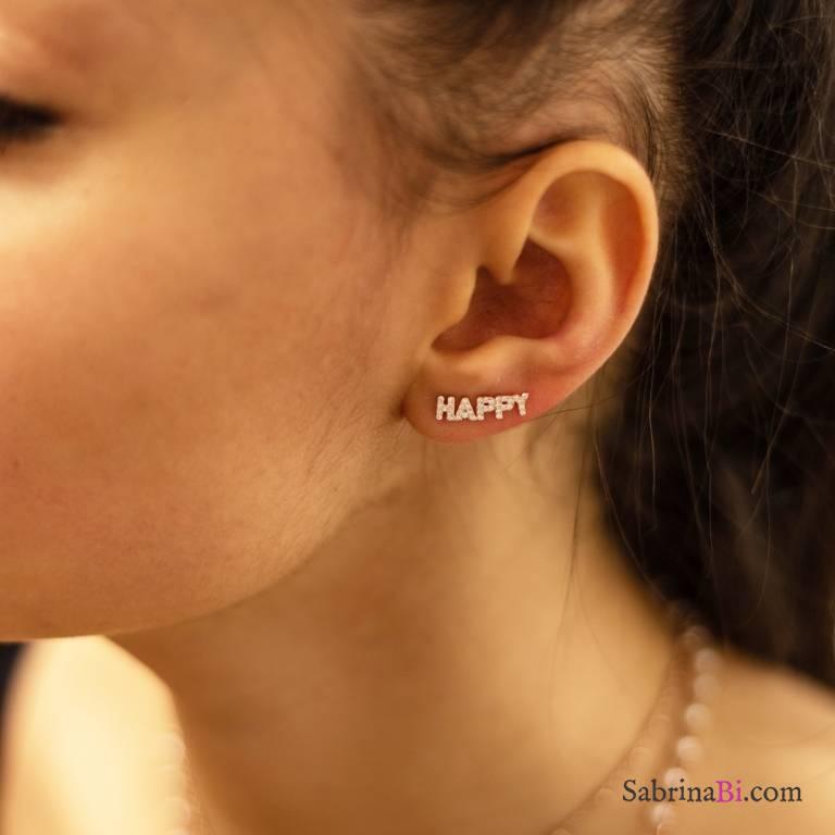 Mono orecchino rampicante argento 925 oro rosa Happy Zirconi
