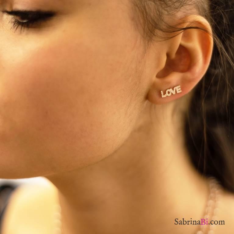 Mono orecchino rampicante argento 925 oro rosa Love Zirconi