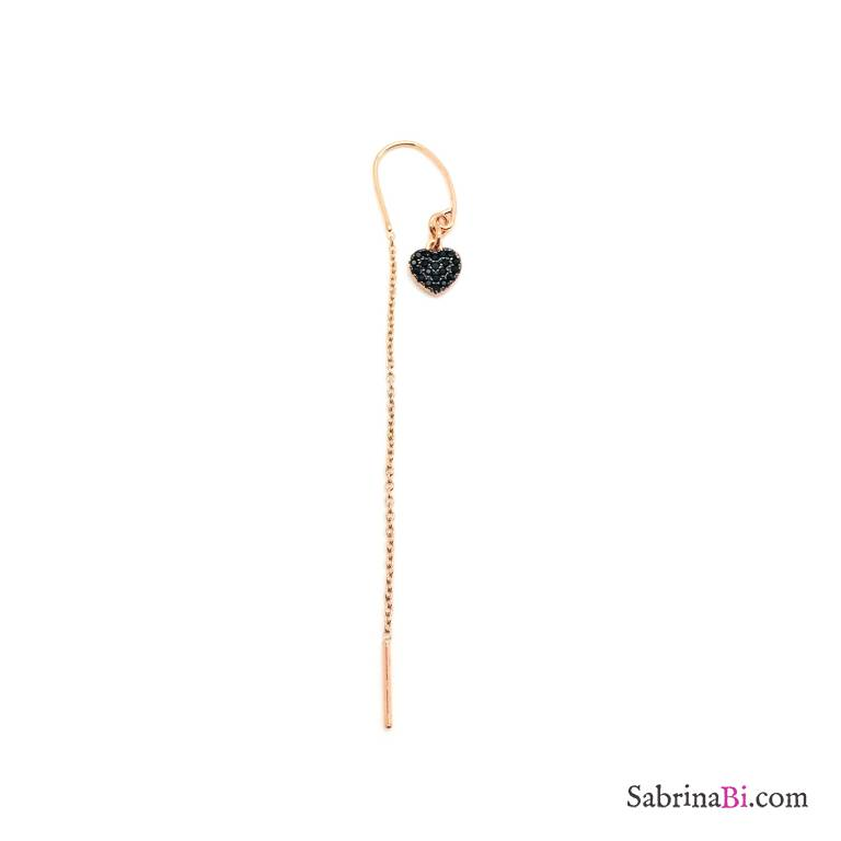 Rose gold sterling silver threader pull through black Zirconia heart mono earring