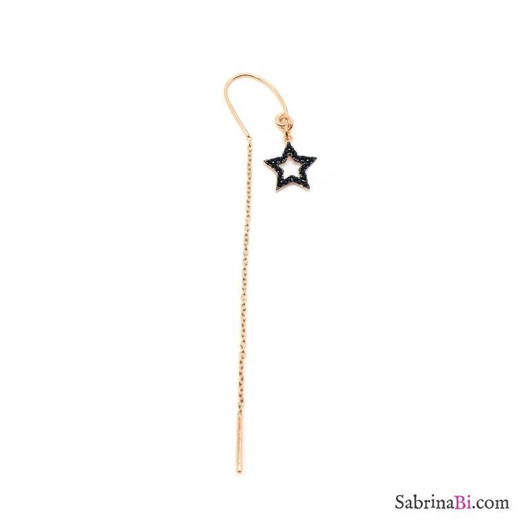 Mono orecchino thread a filo argento 925 oro rosa stella vuota Zirconi neri
