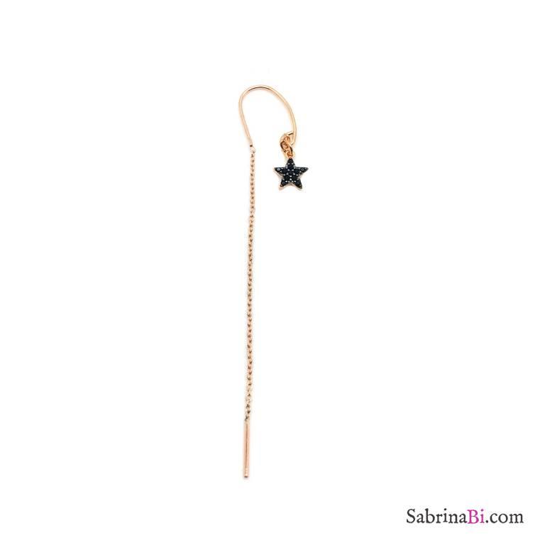 Mono orecchino thread a filo argento 925 oro rosa stella Zirconi neri