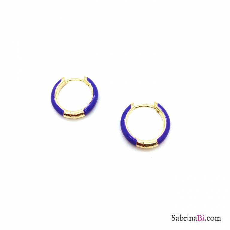 Orecchini a cerchio 1cm scatto argento 925 oro giallo smalto viola