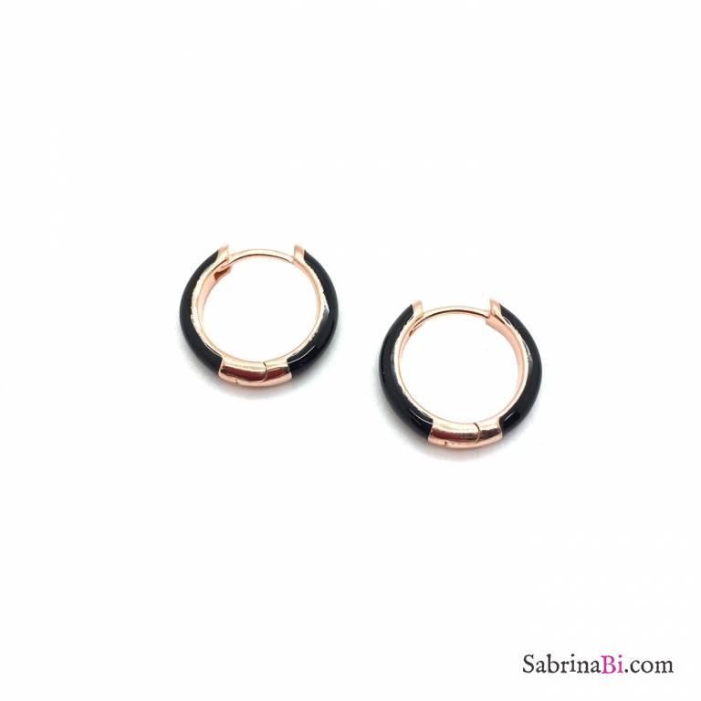 Orecchini a cerchio 1cm scatto argento 925 oro rosa smalto nero