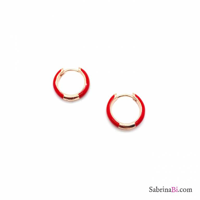 Orecchini a cerchio 1cm scatto argento 925 oro rosa smalto rosso