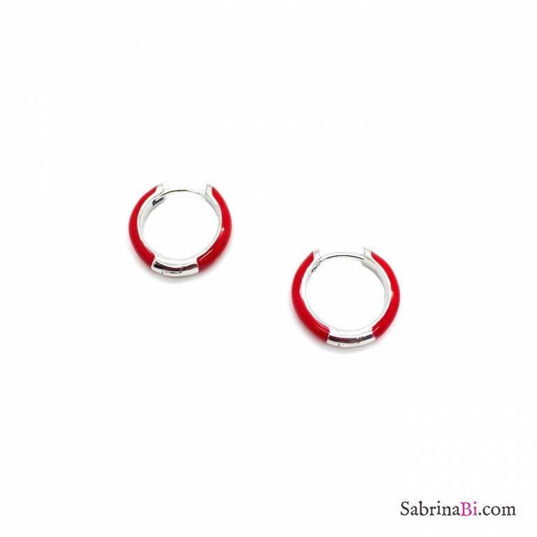 Orecchini a cerchio 1cm scatto argento 925 smalto rosso