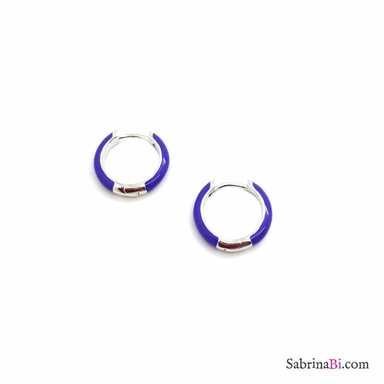 Orecchini a cerchio 1cm scatto argento 925 smalto viola