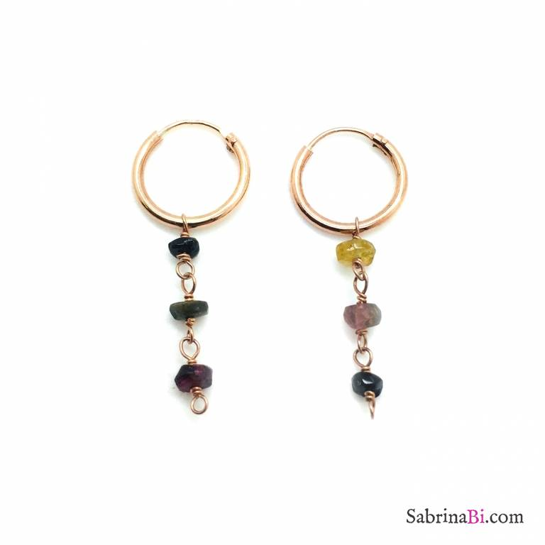 Orecchini a cerchio argento 925 oro rosa 3 Pietre