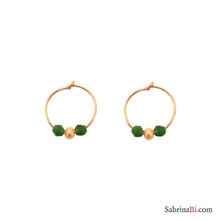 Orecchini a cerchio argento 925 oro rosa giada verde
