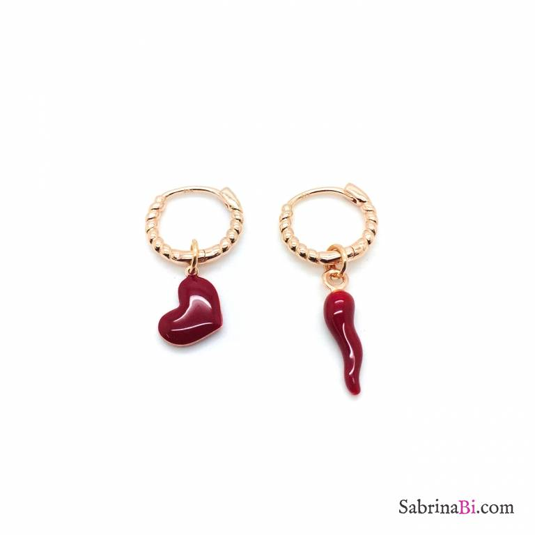 Orecchini a cerchio argento 925 oro rosa Love and Luck