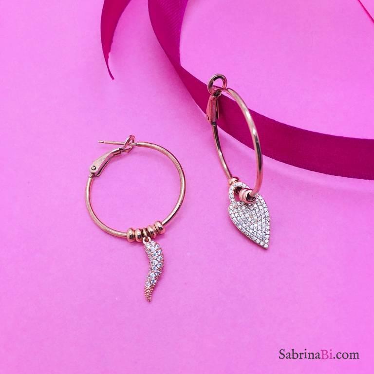 Orecchini a cerchio grande argento 925 oro rosa Love Luck
