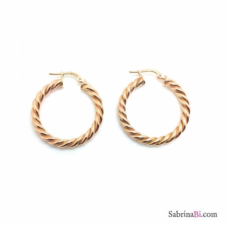 Orecchini a cerchio grandi torchon argento 925 oro rosa