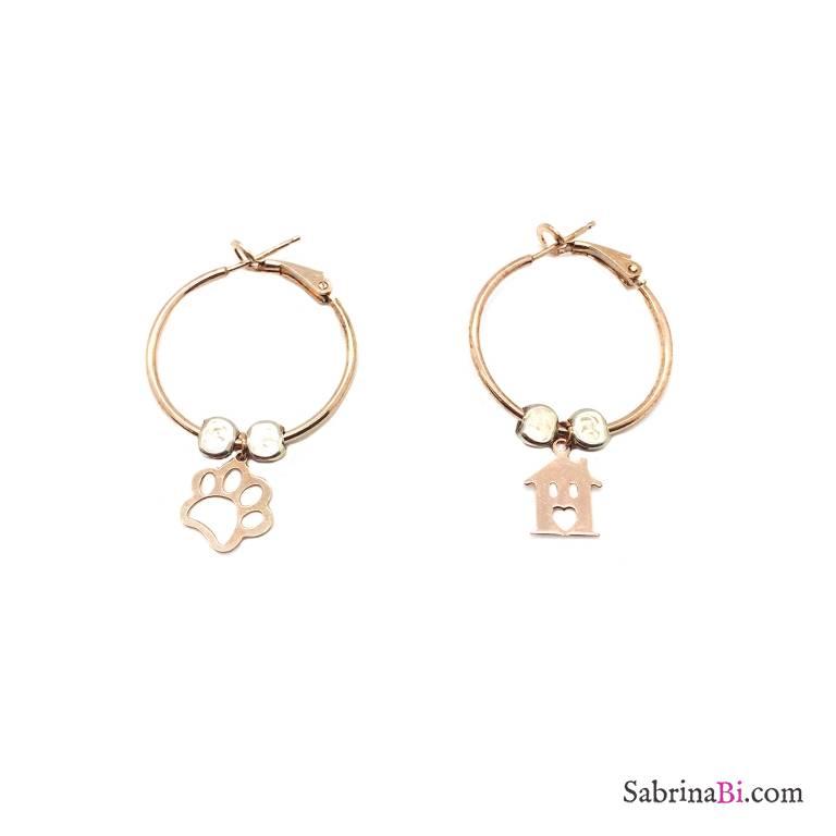 Orecchini a cerchio medio argento 925 oro rosa Orma e Casetta
